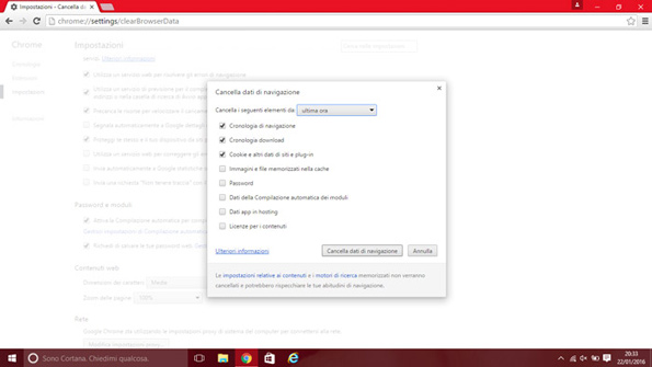 cronologia chrome windows