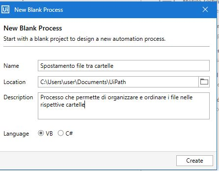 Uipath new blank process